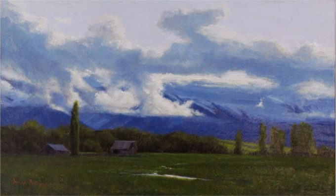 Dix Baines Painting Spring Light Oil on Board