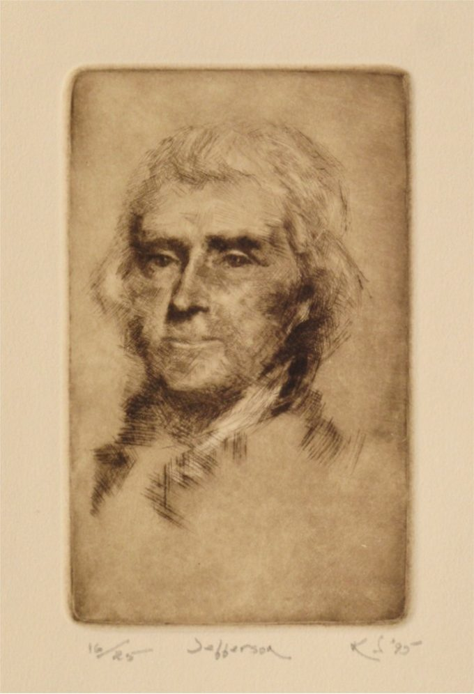 Kent Talmage-Bowers Printmaking Jefferson Etching
