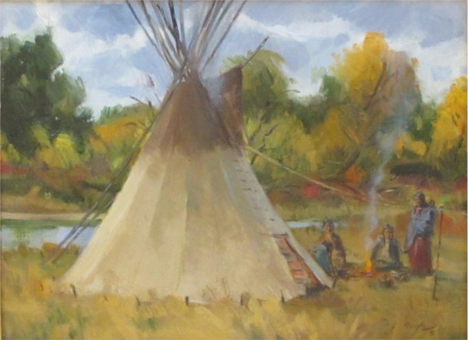 Loren Entz Painting Big Horn River Camp in Autumn Oil on Linen