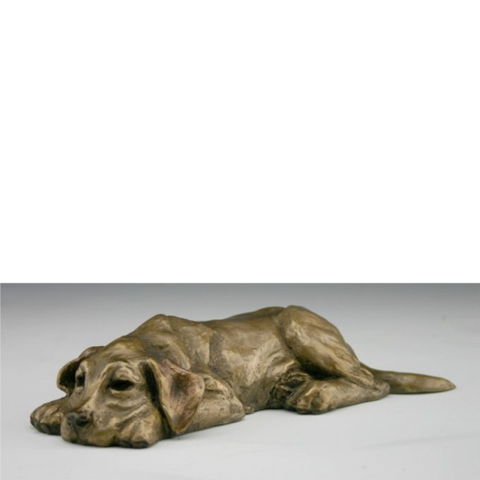 Mark Dziewior Sculpture Tuckered Out - Yellow Patina Bronze