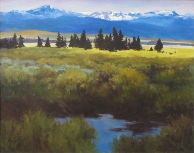 Martha Mans Painting Across the Meadow Oil on Canvas