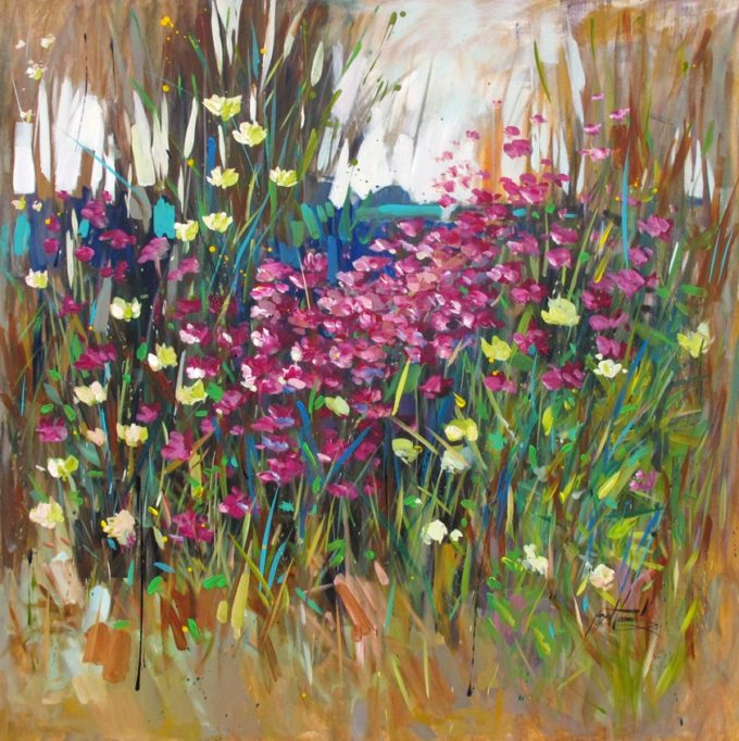 Nazar Harran Painting Wildflowers in Spring Acrylic on Canvas