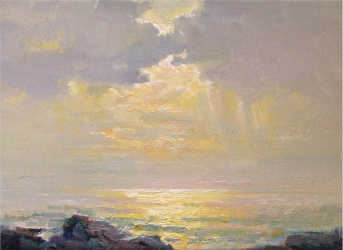 Ovanes Berberian Painting Afternoon Sun Oil on Board