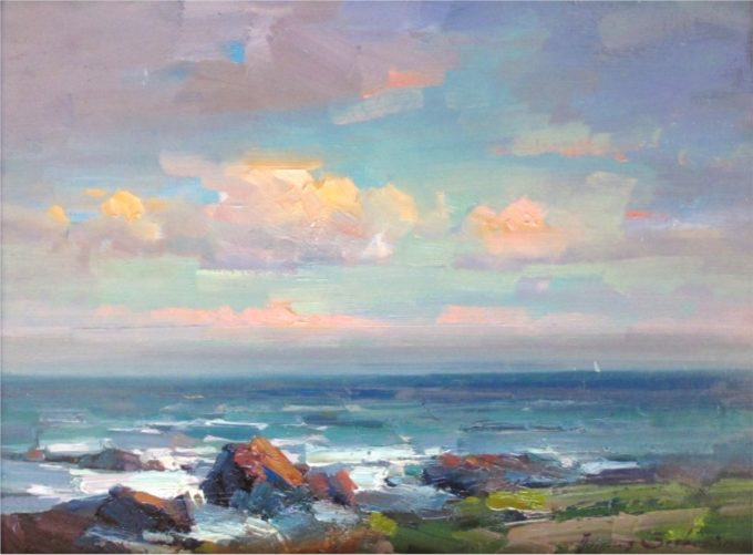 Ovanes Berberian Painting Evening Over Pacific Oil on Board