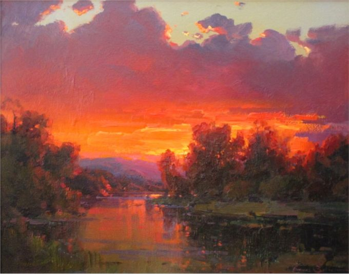 Ovanes Berberian Painting October Sunset Oil on Canvas