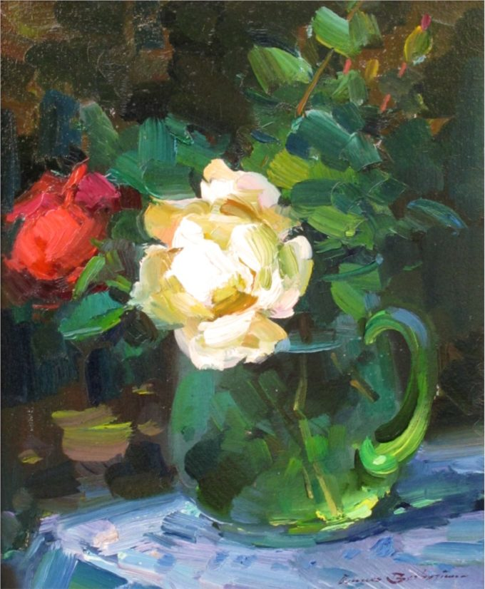Ovanes Berberian Painting Roses Oil on Board