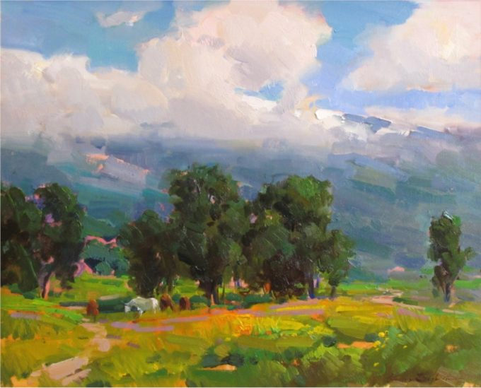 Ovanes Berberian Painting Spring Oil on Canvas