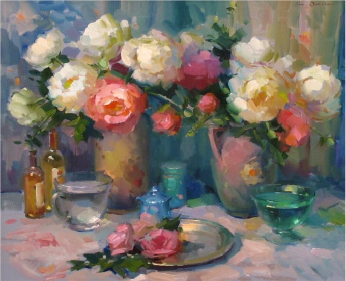 Ovanes Berberian Painting Still Life with Peonies Oil on Canvas