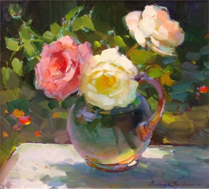 Ovanes Berberian Painting Still Life with Roses Oil on Board