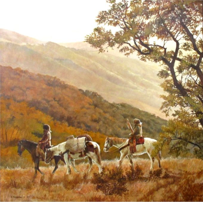 Robert Dorman Painting Trapper's Morning Oil on Canvas