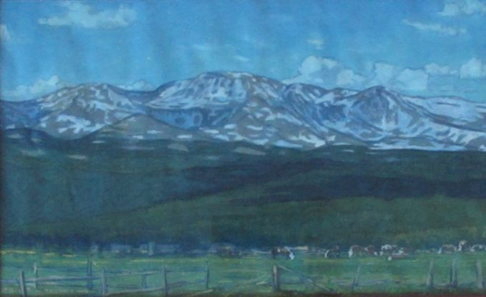 Stephen Smalzel  Cattle Ranch Mountains in the Summer Watercolor