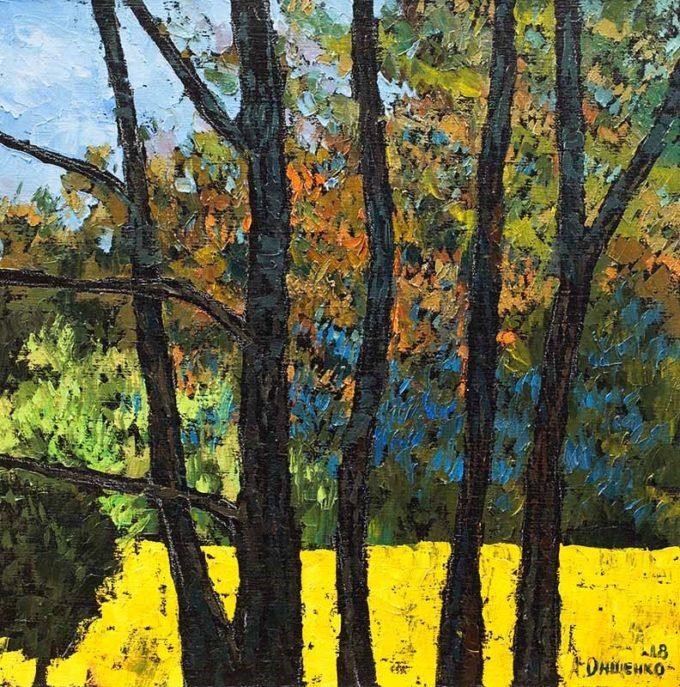 Alexandr Onishenko Painting Forest Quintet Oil on Canvas