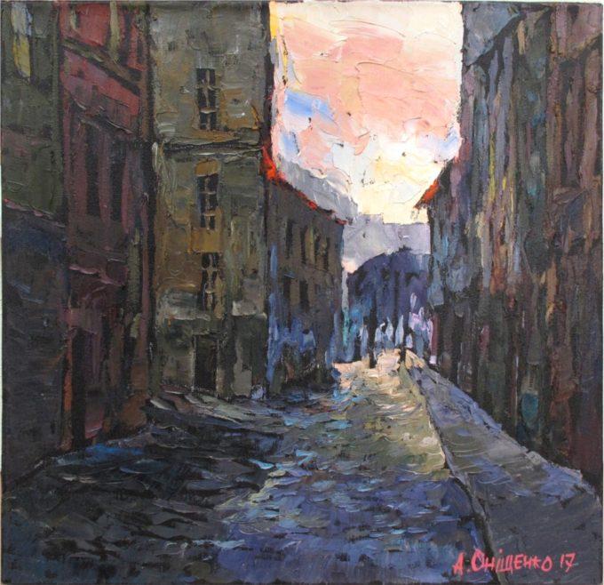 Alexandr Onishenko Painting On the Way to Charles Bridge Oil on Canvas