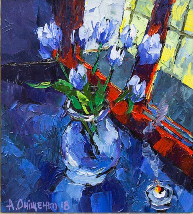 Alexandr Onishenko Painting Painters Window Oil on Canvas
