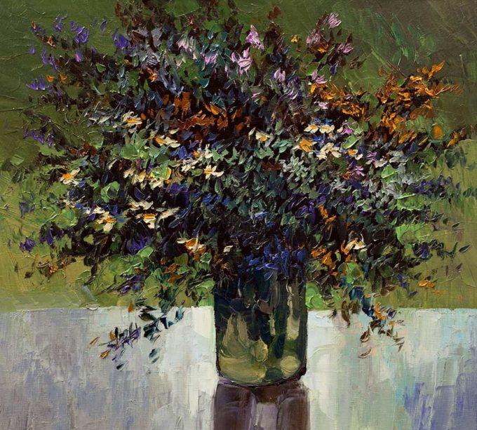 Alexandr Onishenko Painting Wild Flowers Oil on Canvas