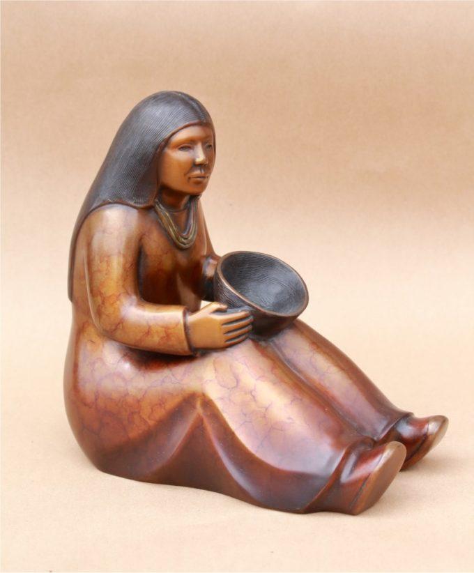 Doug Hyde Sculpture Basket Maker Bronze