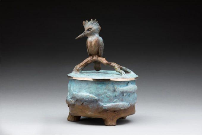 James Moore Sculpture Kingfisher Urn Bronze
