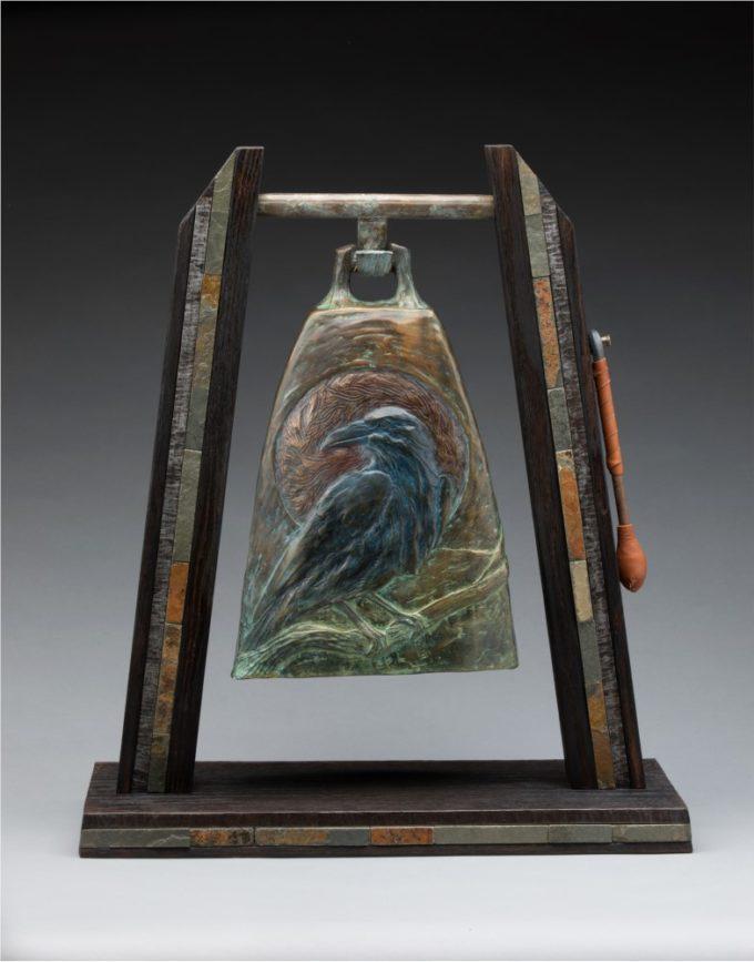James Moore Sculpture Raven Song Bell Bronze