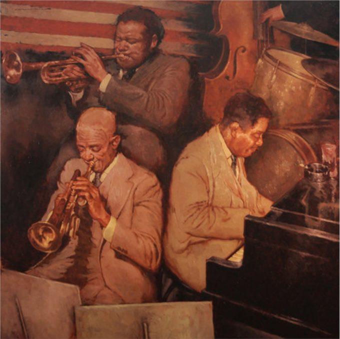 Joseph Lorusso Painting Jazz Trio Oil on Panel