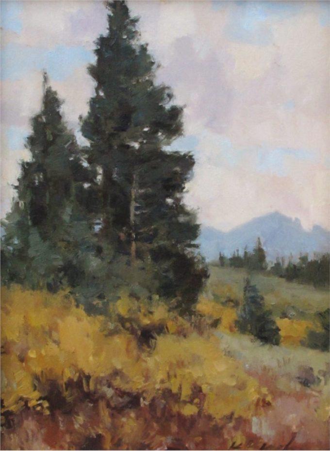 Kate Kiesler Painting At Treeline Oil on Board