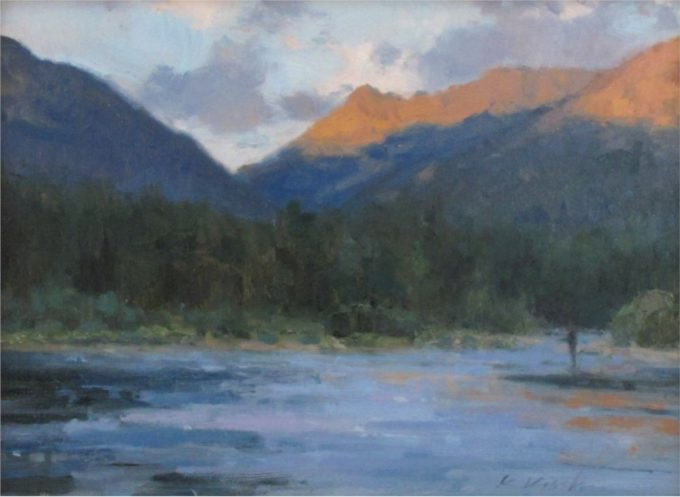 Kate Kiesler Painting Up At Dawn Oil on Board