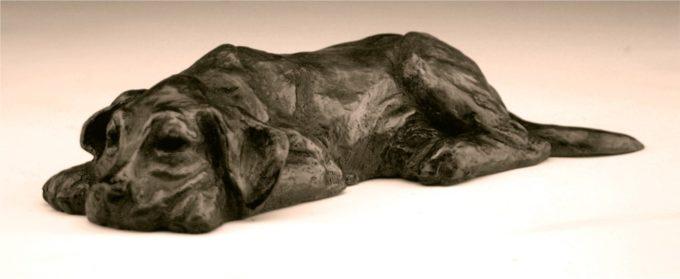 Mark Dziewior Sculpture Tuckered Out - Black Patina Bronze
