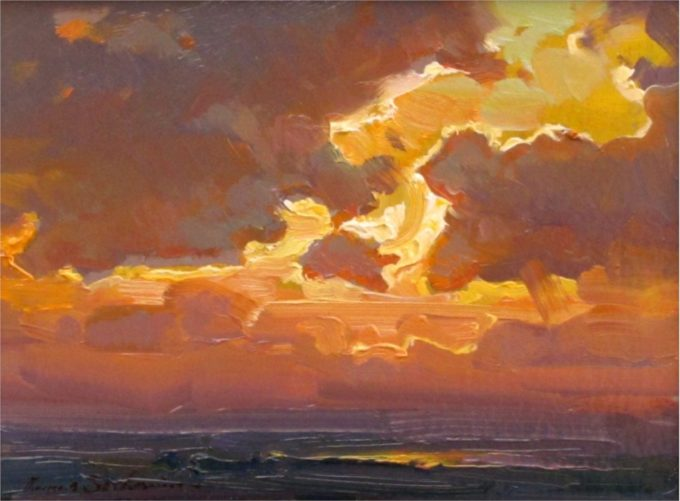 Ovanes Berberian Painting Afternoon Light Oil on Board