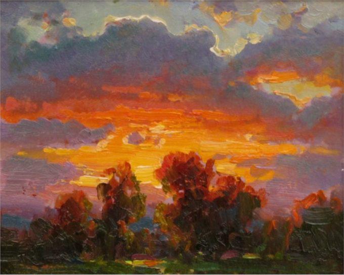 Ovanes Berberian Painting Sunset Glow Oil on Board