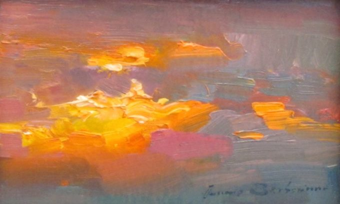 Ovanes Berberian Painting Sunset Oil on Board