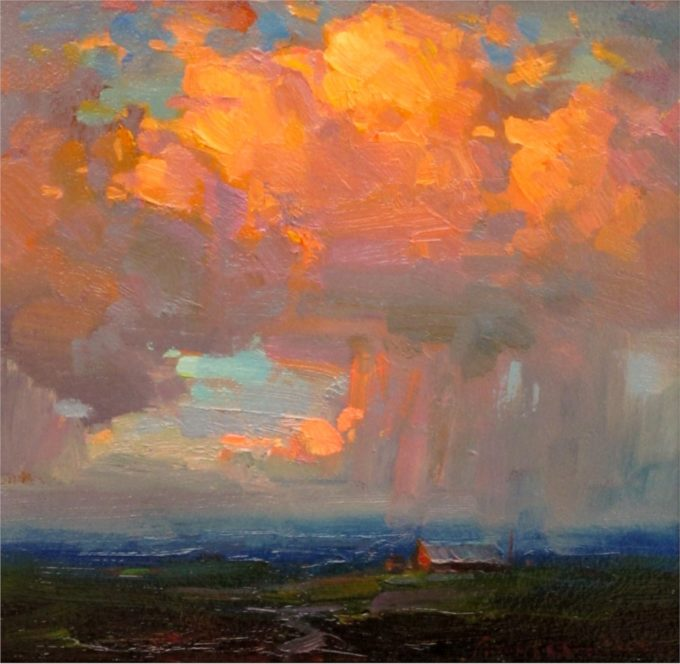 Ovanes Berberian Painting Thundercloud at Sunset Oil on Board