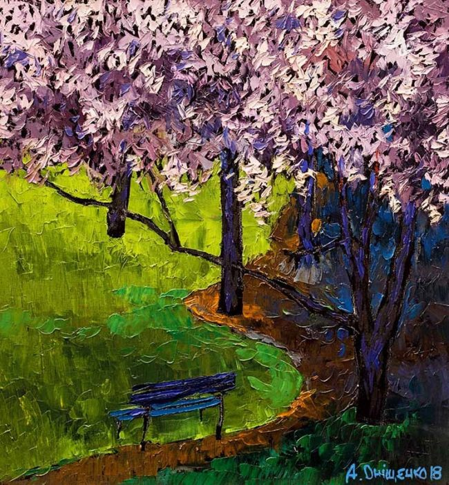 Alexandr Onishenko Painting Lilacs Bush Oil on Canvas