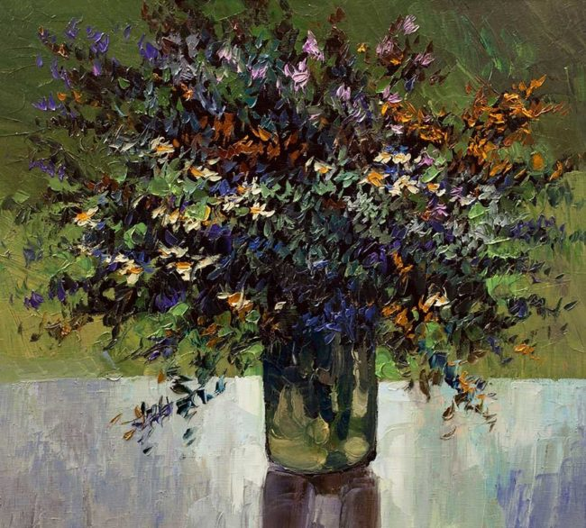 Alexandr Onishenko Painting Wild Flowers Oil on Canvas