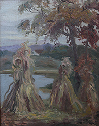 Anna L. Thorne Painting Haystacks Oil on Board