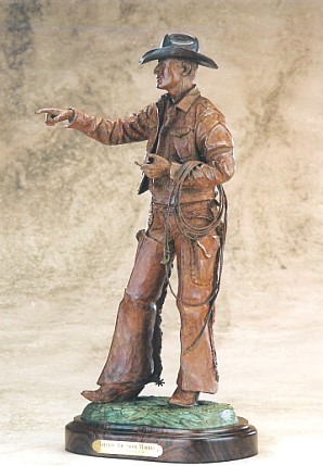 Bill Nebeker CA Sculpture Tallyin' the Stock Market Bronze
