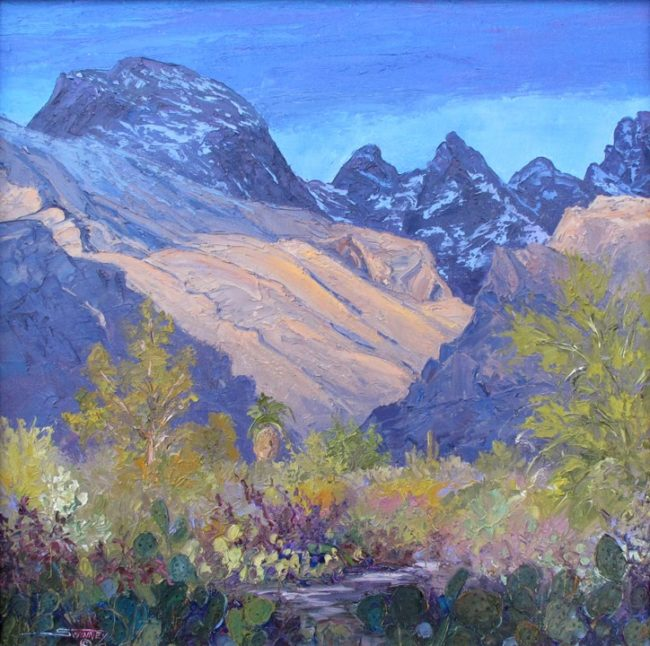 Carol Swinney Painting Snow Dusting - Pima Canyon Oil on Canvas
