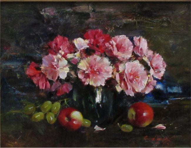 Cyrus Afsary Painting Carnation & Rose Oil on Linen