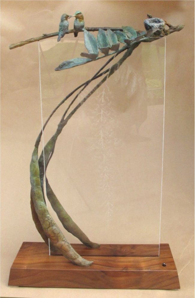 Dan Chen Sculpture Spring Bronze and Acrylic with Engraving