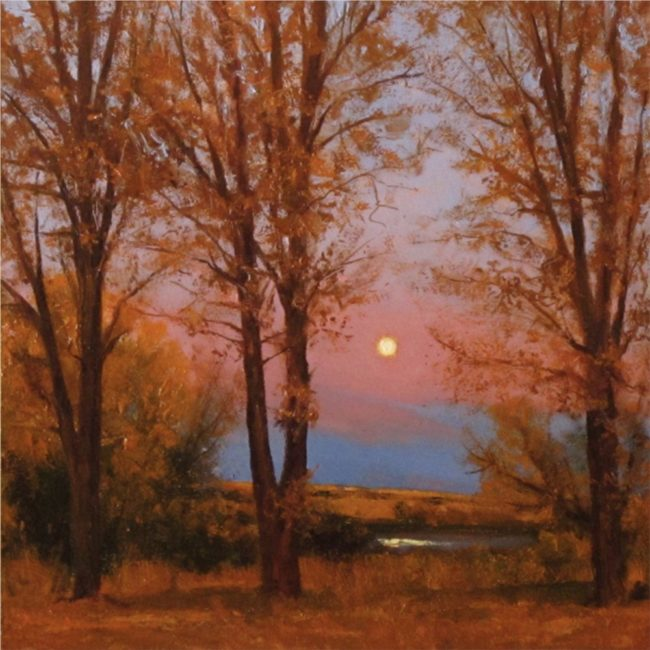 Dix Baines Painting Morning Moon Oil on Board