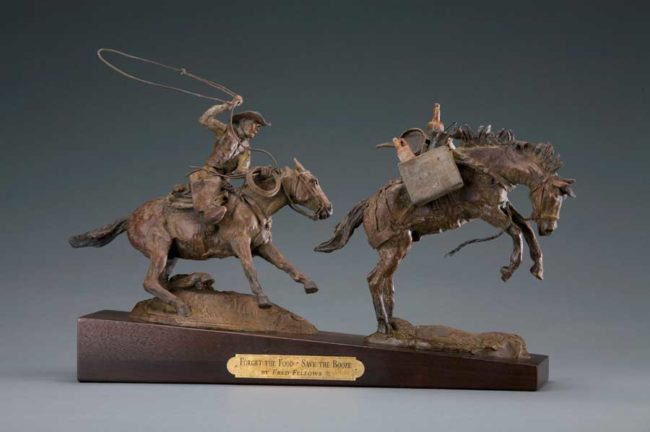 Fred Fellows CA Sculpture Forget the Food - Save the Booze Bronze