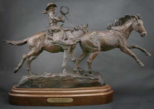 Fred Fellows CA Sculpture Half the Battle Bronze