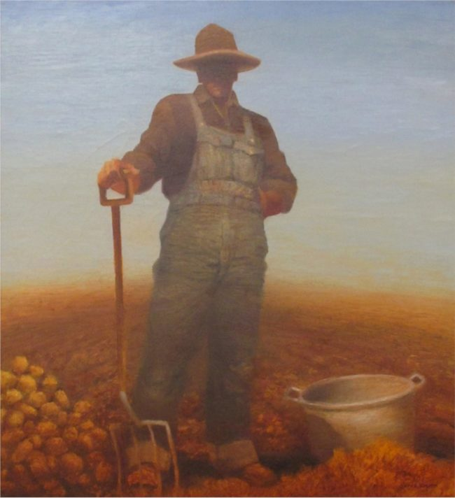 Gary Ernest Smith Painting Potato Digger Oil on Canvas