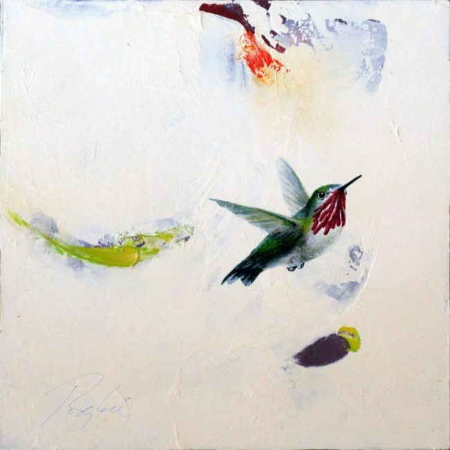Greg Ragland Painting A Hummingbird Flying in Cream and Colors Acrylic on Panel