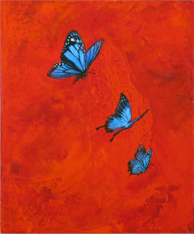 Greg Ragland Painting Blue Butterflies in Red II Acrylic on Panel
