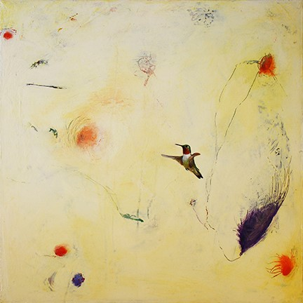 Greg Ragland Painting Broadtail Hummingbird in Cream with Red and Purple Shapes Acrylic on Canvas