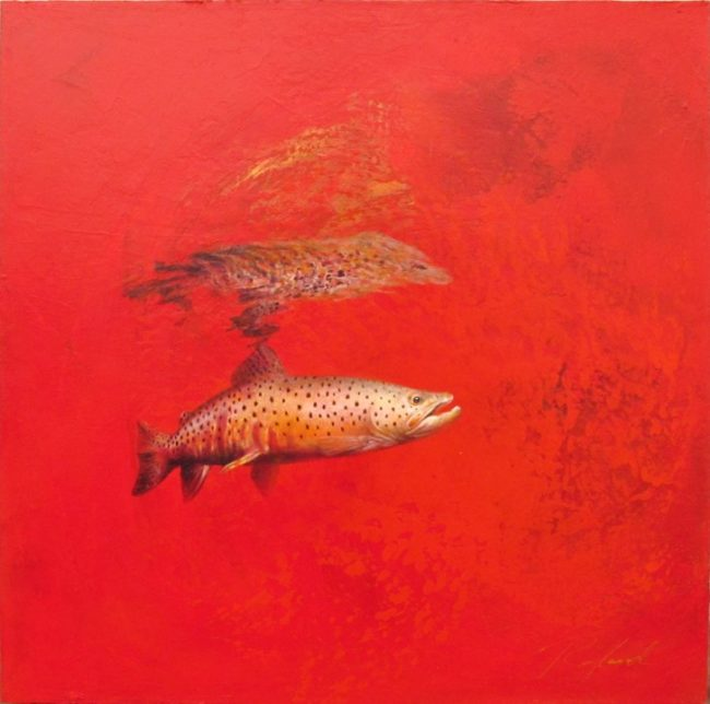 Greg Ragland Painting Brown in Red Acrylic on Canvas