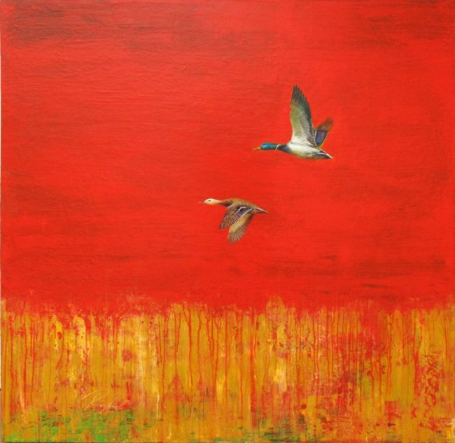 Greg Ragland Painting Mallard's in Red and Tan Acrylic on Canvas