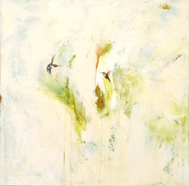 Greg Ragland Painting Two Hummingbirds in White and Green Acrylic on Canvas