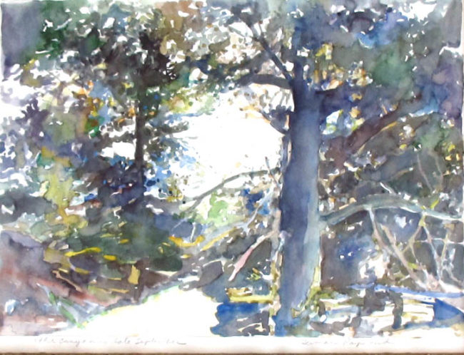 Herman Raymond Painting Canyon In Late September Watercolor