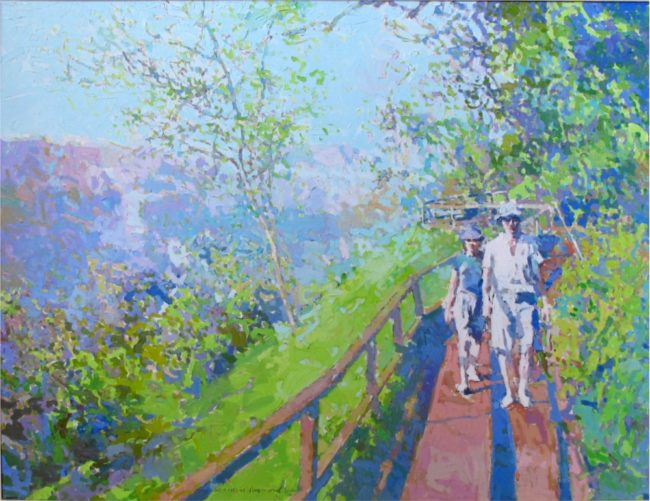 Herman Raymond Painting Walk In The Park Oil on Canvas