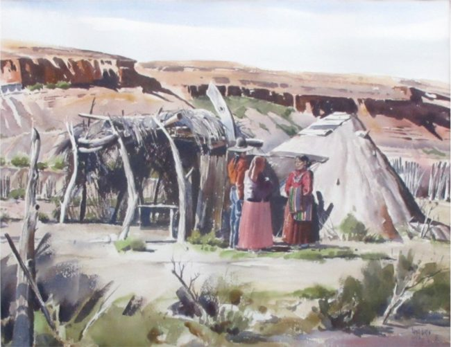 James Boren Painting Navajo Adobes Watercolor